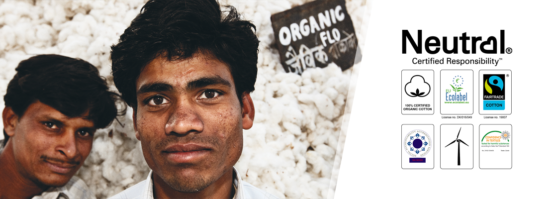100% Fairtrade certified organic cotton, used to produce Neutral t shirts, hoodies, sweatshirts and polos. With full eco and ethical certification.