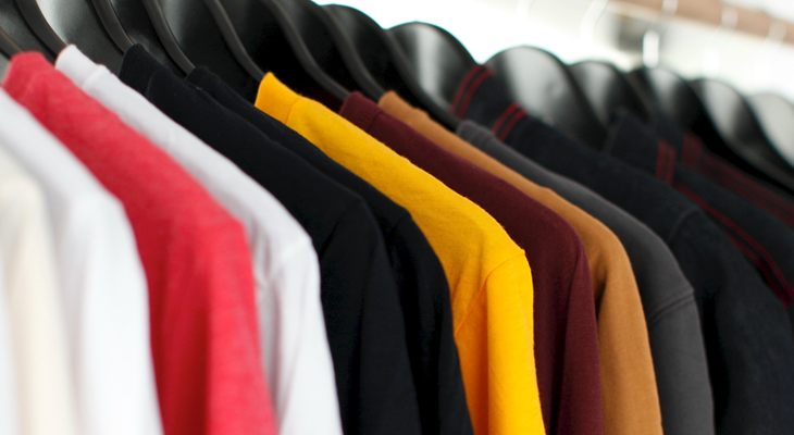 rail of t-shirts manufactured