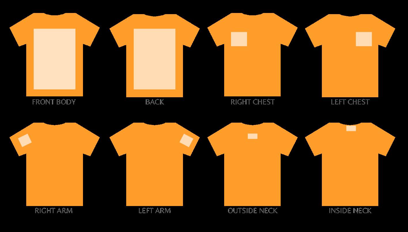 T-shirt print positions